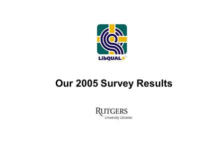 "Our 2005 Survey Results. ""….only customers judge quality; all other judgments are essentially irrelevant"" Delivering Quality Service : Balancing Customer."