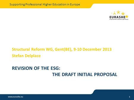 Www.eurashe.eu Supporting Professional Higher Education in Europe REVISION OF THE ESG: THE DRAFT INITIAL PROPOSAL Structural Reform WG, Gent(BE), 9-10.