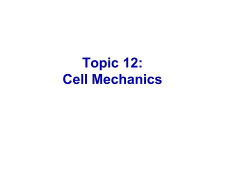 Topic 12: Cell Mechanics. David Rogers, Vanderbilt University Cells are dynamic, constantly reorganizing their cytoskeleton.