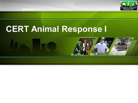 CERT Animal Response I. 1 The purpose of this module is to teach CERT members emergency preparedness for animal owners and how to recognize specific animal.
