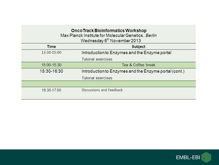 OncoTrack Bioinformatics Workshop Max Planck Institute for Molecular Genetics, Berlin Wednesday 6 th November 2013 TimeSubject 13:30-15:00 Introduction.