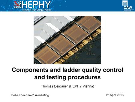 25 April 2013 Thomas Bergauer (HEPHY Vienna) Components and ladder quality control and testing procedures Belle II Vienna-Pisa meeting.