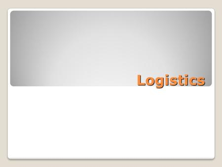 Logistics.  Logistics of business is big and important  The logistical value proposition  The work of logistics  Logistical operations  Logistics.