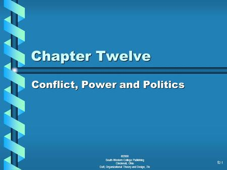©2000 South-Western College Publishing Cincinnati, Ohio Daft, Organizational Theory and Design, 7/e 12-1 1 Chapter Twelve Conflict, Power and Politics.