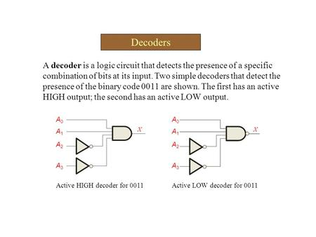 Decoders A decoder is a logic circuit that detects the presence of a specific combination of bits at its input. Two simple decoders that detect the presence.