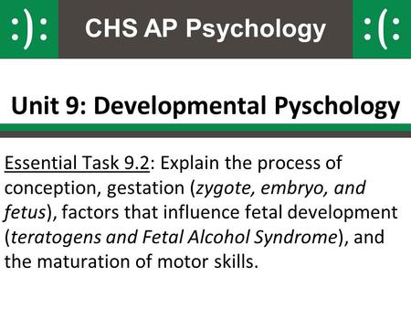 CHS AP Psychology Unit 9: Developmental Pyschology Essential Task 9.2: Explain the process of conception, gestation (zygote, embryo, and fetus), factors.