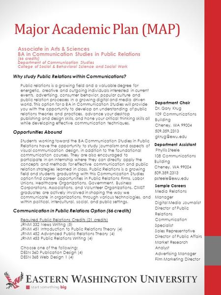Major Academic Plan (MAP) Why study Public Relations within Communications? Public relations is a growing field and a valuable degree for energetic, creative.