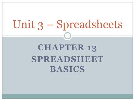 CHAPTER 13 SPREADSHEET BASICS Unit 3 – Spreadsheets.
