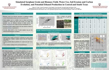Simulated Sorghum Grain and Biomass Yield, Water Use, Soil Erosion and Carbon Evolution, and Potential Ethanol Production in Central and South Texas Manyowa.