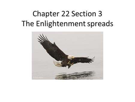Chapter 22 Section 3 The Enlightenment spreads. Enlightenment Influence As the Enlightenment ideas spread throughout Europe they began to influence society.