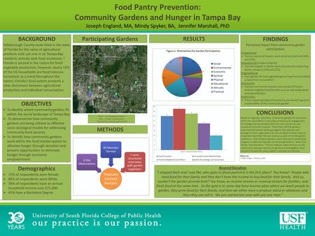 Food Pantry Prevention: Community Gardens and Hunger in Tampa Bay Joseph England, MA, Mindy Spyker, BA, Jennifer Marshall, PhD BACKGROUND Hillsborough.