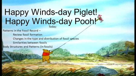 Happy Winds-day Piglet! Happy Winds-day Pooh! Today: Patterns in the Fossil Record – Review fossil formation Changes in the type and distribution of fossil.