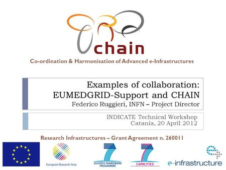 Co-ordination & Harmonisation of Advanced e-Infrastructures Research Infrastructures – Grant Agreement n. 260011 Examples of collaboration: EUMEDGRID-Support.