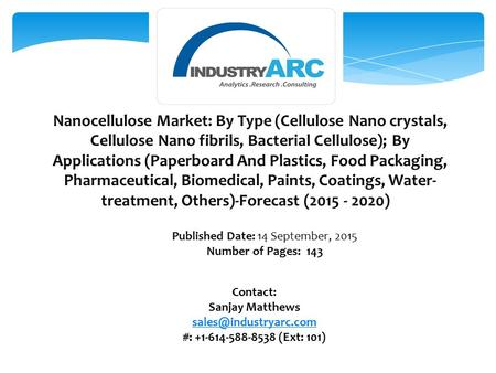 Nanocellulose Market: By Type (Cellulose Nano crystals, Cellulose Nano fibrils, Bacterial Cellulose); By Applications (Paperboard And Plastics, Food Packaging,
