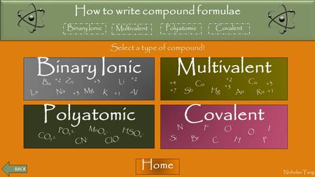 BACK Binary Ionic How to write compound formulae Multivalent PolyatomicCovalent Nicholas Tang Select a type of compound! Home Binary Ionic CovalentPolyatomic.