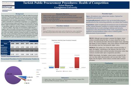 Turkish Public Procurement Procedures: Health of Competition Ayten Huseyin Georgetown University Research Objective: What are the types of procurement.