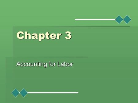 Chapter 3 Accounting for Labor. Learning Objectives  Distinguish between features of hourly rate and piece-rate plans.  Specify procedures for controlling.