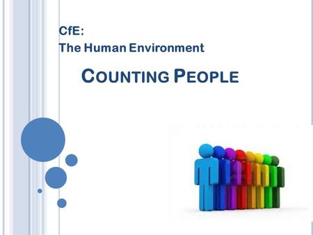 C OUNTING P EOPLE CfE: The Human Environment P OPULATION UNIT Title: Counting people Date:21/06/2016 Aim: To find out how we count the population of.