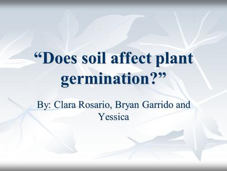 """Does soil affect plant germination?"" By: Clara Rosario, Bryan Garrido and Yessica."
