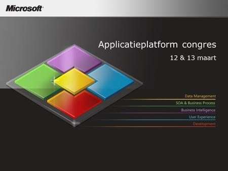 Applicatieplatform congres 12 & 13 maart. Microsoft Application Platform A Lifecycle View Sam Guckenheimer Group Product Planner Visual Studio Team System.