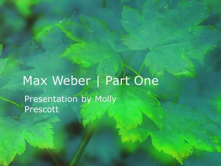 Max Weber | Part One Presentation by Molly Prescott.