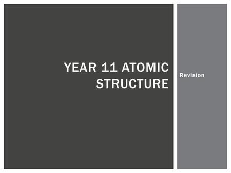 Revision YEAR 11 ATOMIC STRUCTURE.  What is the atomic number of an element?  What is contained in the nucleus?  What does the word valence mean? 