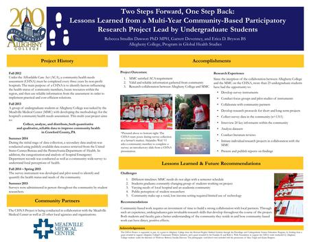 Two Steps Forward, One Step Back: Lessons Learned from a Multi-Year Community-Based Participatory Research Project Lead by Undergraduate Students Rebecca.