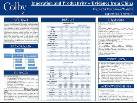Innovation and Productivity – Evidence from China Jingying Xu, Prof. Andreas Waldkirch Department of Economics ABSTRACT BACKGROUND STRATEGIES CONCLUSION.