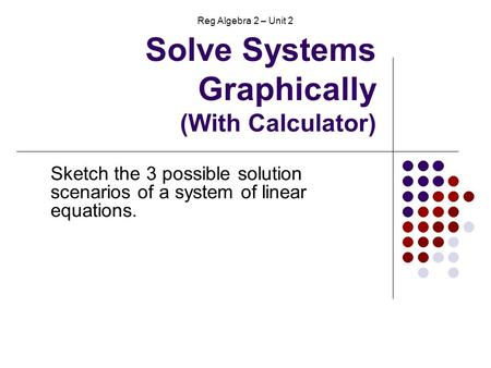 Solve Systems Graphically (With Calculator) Sketch the 3 possible solution scenarios of a system of linear equations. Reg Algebra 2 – Unit 2.