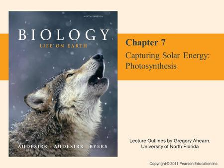 Lecture Outlines by Gregory Ahearn, University of North Florida Copyright © 2011 Pearson Education Inc. Chapter 7 Capturing Solar Energy: Photosynthesis.