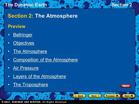 The Dynamic EarthSection 2 Section 2: The Atmosphere Preview Bellringer Objectives The Atmosphere Composition of the Atmosphere Air Pressure Layers of.