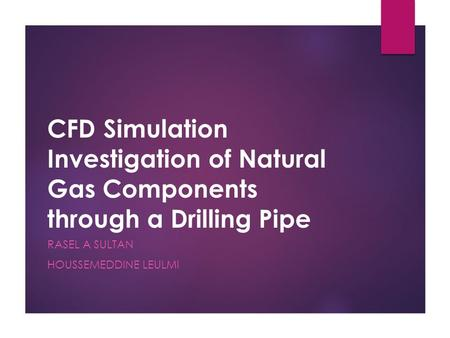 CFD Simulation Investigation of Natural Gas Components through a Drilling Pipe RASEL A SULTAN HOUSSEMEDDINE LEULMI.