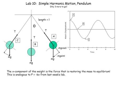 Lab 10: Simple Harmonic Motion, Pendulum Only 3 more to go!!  mg T length = l A B C mg T T -mgsin  -mgcos  The x-component of the weight is the force.