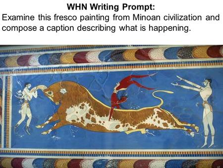 WHN Writing Prompt: Examine this fresco painting from Minoan civilization and compose a caption describing what is happening.