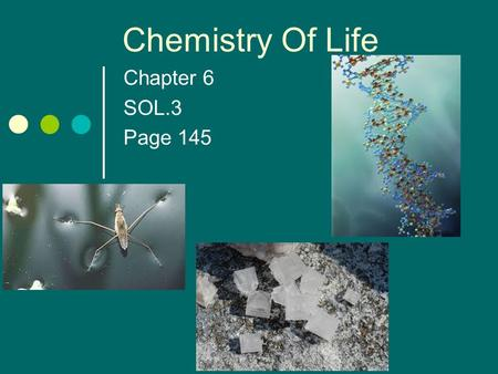 Chapter 6 SOL.3 Page 145 Chemistry Of Life Chemistry Objectives Students will be able to distinguish between ionic and covalent bonds. Students will.