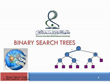 © 2004 Goodrich, Tamassia BINARY SEARCH TREES Binary Search Trees 1 6 9 2 4 1 8   