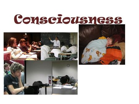 Consciousness. Definition = A state of awareness of internal events and of the external environment Your Definition =