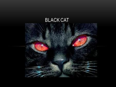 BLACK CAT. BACKGROUND Setting- Prison cell Plot- The day before his execution, the prisoner tells the story of what got him there. Mood- horror, scary,