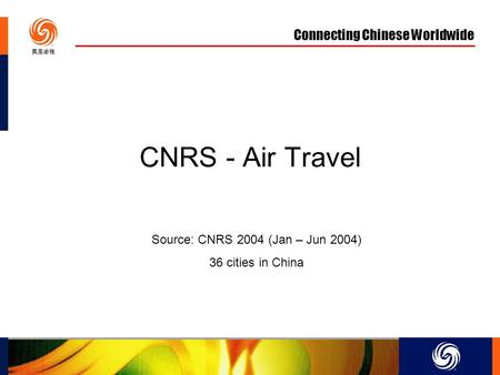 Connecting Chinese Worldwide CNRS - Air Travel Source: CNRS 2004 (Jan – Jun 2004) 36 cities in China.