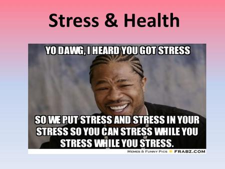 Stress & Health. Brainstorm…. List all the different stressors that you encounter in a regular school day.
