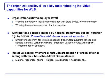 The organizational level as a key factor shaping individual capabilities for WLB Organizational (firm/employer level)  Working-time policy, including.