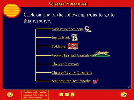 To return to the chapter summary click Escape or close this document. Chapter Resources Click on one of the following icons to go to that resource. earth.msscience.com.
