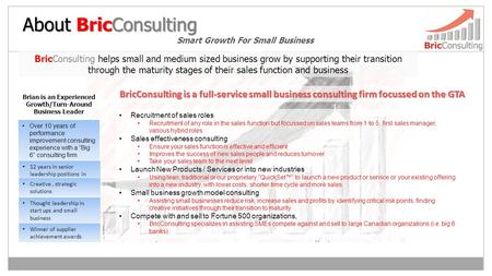 "About BricConsulting Smart Growth For Small Business Over 10 years of performance improvement consulting experience with a ""Big 6"" consulting firm Brian."