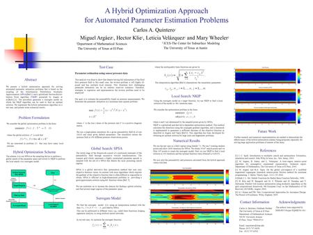 A Hybrid Optimization Approach for Automated Parameter Estimation Problems Carlos A. Quintero 1 Miguel Argáez 1, Hector Klie 2, Leticia Velázquez 1 and.