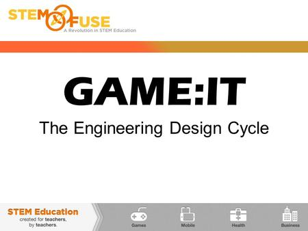 GAME:IT The Engineering Design Cycle. GAME:IT THE DESIGN CYCLE  The basic steps of design are the same if you are building a bridge, house, skyscraper.
