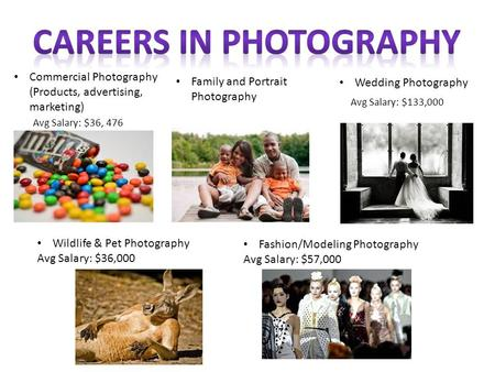 Commercial Photography (Products, advertising, marketing) Family and Portrait Photography Wedding Photography Avg Salary: $36, 476 Avg Salary: $133,000.