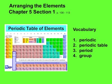 Arranging the Elements Chapter 5 Section 1 p. 106 - 113 Vocabulary 1.periodic 2.periodic table 3.period 4.group.