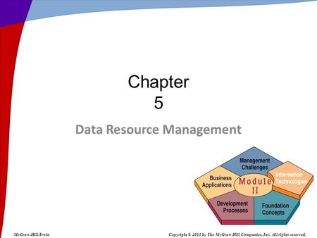 Data Resource Management Chapter 5 McGraw-Hill/IrwinCopyright © 2011 by The McGraw-Hill Companies, Inc. All rights reserved.