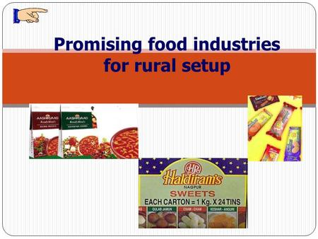 Promising food industries for rural setup. Dr. Kalpana Kulshrestha Professor & Head, Deptt. of Foods and Nutrition College of Home Science G.B.P.U.A.&T.,