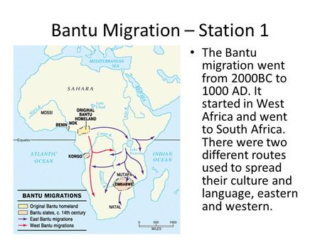 Bantu Migration – Station 1 The Bantu migration went from 2000BC to 1000 AD. It started in West Africa and went to South Africa. There were two different.